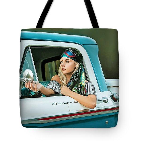 Pickup Truck And Girl Tote Bag