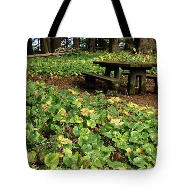 Picnic  Table In The Forest  Tote Bag