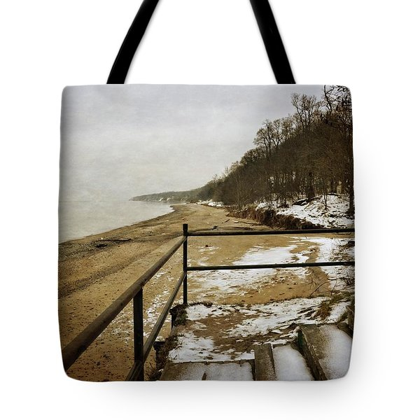 Pier Cove Beach With Steps Tote Bag