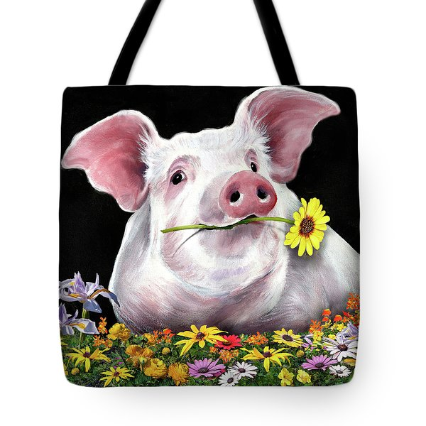 Pig With Flowers Tote Bag