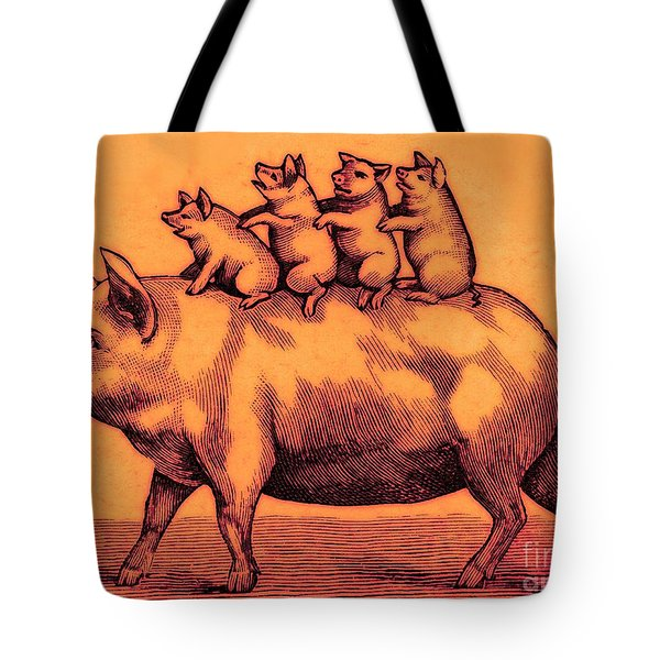 Pig With Her Piglets Tote Bag