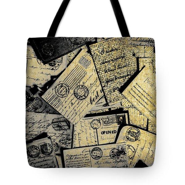 Piled Paper Postcards Tote Bag