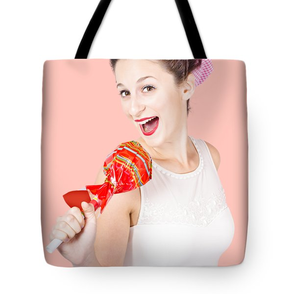 Pin-up Girl Singing Into Large Lollypop Microphone Tote Bag