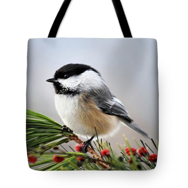 Tote Bag featuring the mixed media Pine Chickadee by Christina Rollo