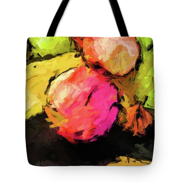 Pink And Green Apples With The Yellow Banana Tote Bag