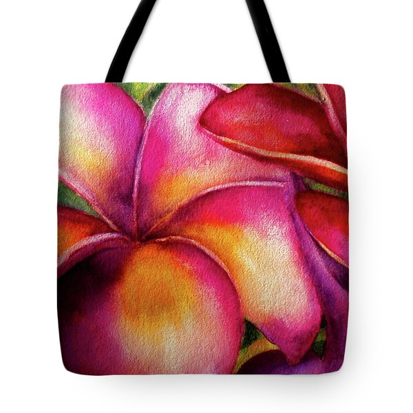 Pink And Red Plumerias Tote Bag