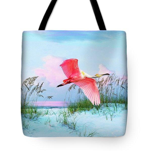 Pink Burst Of The Roseate Spoonbill Tote Bag