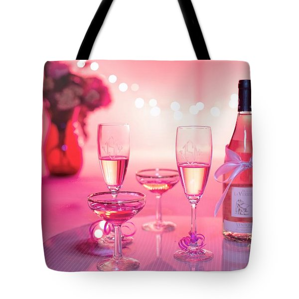 Tote Bag featuring the photograph Pink Champagne by Top Wallpapers