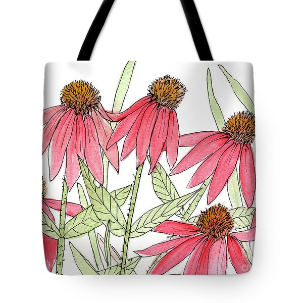 Pink Coneflowers Gather Watercolor Tote Bag
