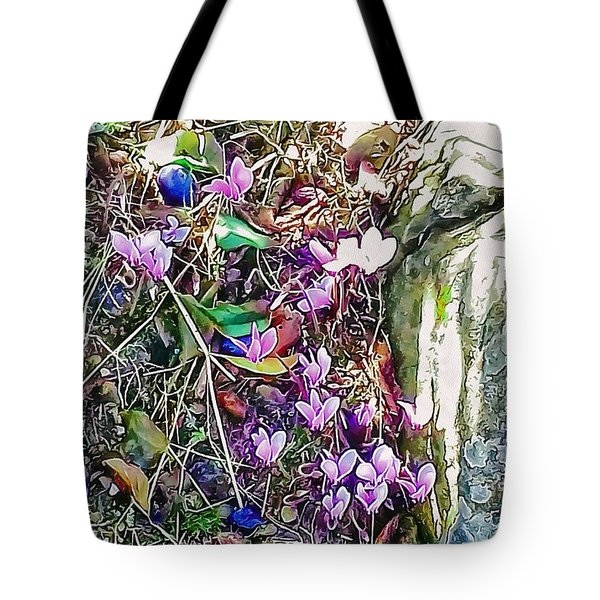 Pink Cyclamen With Fallen Damsons Tote Bag