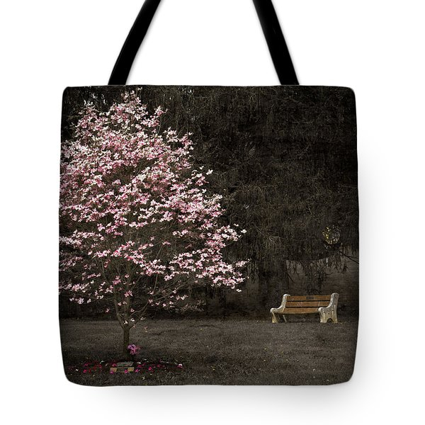 Pink Dogwood Tree And A Bench Tote Bag