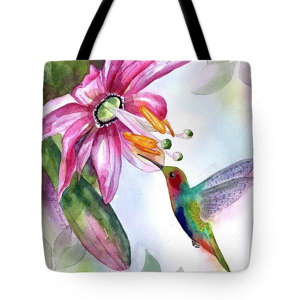 Pink Flower For Hummingbird Tote Bag