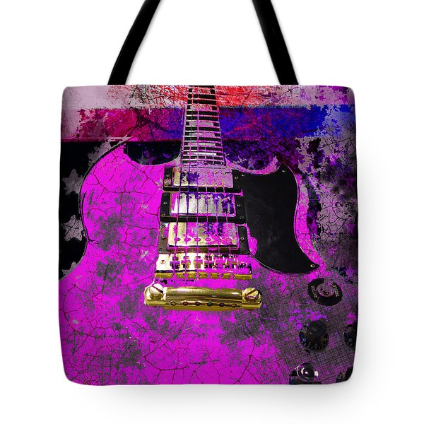 Pink Guitar Against American Flag Tote Bag