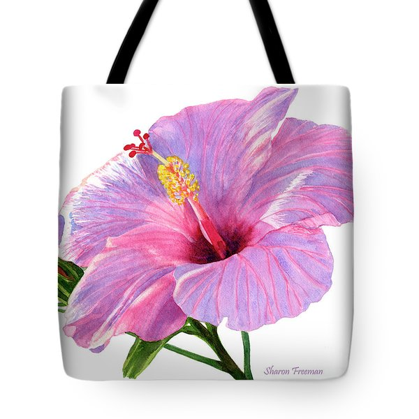 Pink Hibiscus Blossom With Blue Shadows Tote Bag