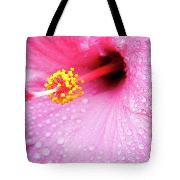 Pink Hibiscus Drops Tote Bag