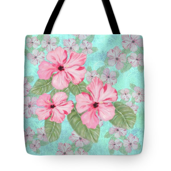 Pink Hibiscus Print On Aqua Tote Bag