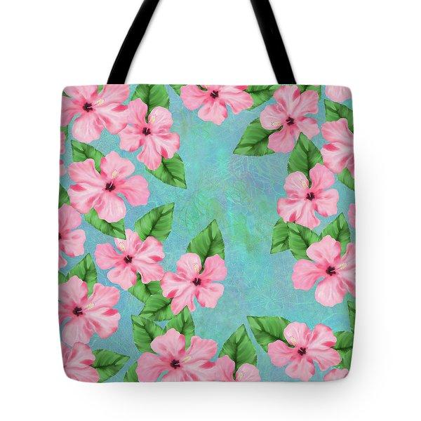 Pink Hibiscus Tropical Floral Print Tote Bag