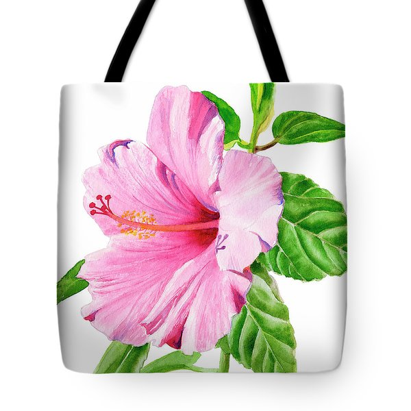 Pink Hibiscus With White Background Tote Bag