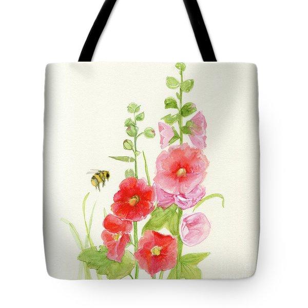 Pink Hollyhock Watercolor Tote Bag