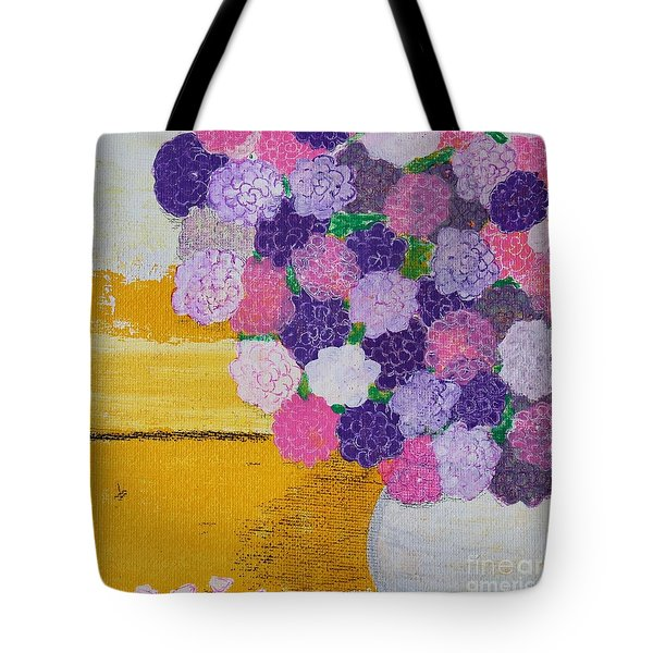 Tote Bag featuring the painting Pink Hydrangeas Or Are They Peonies? by Kim Nelson