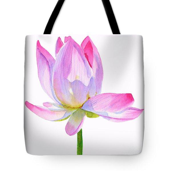 Pink Lotus Square Design Tote Bag