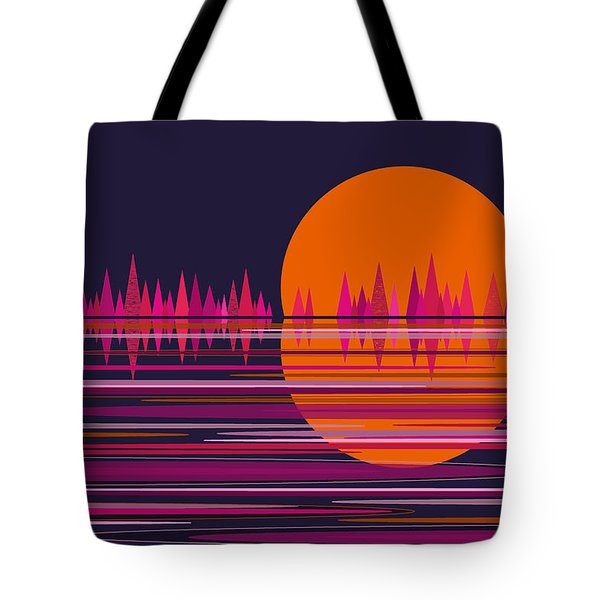 Pink Moonrise Abstract Tote Bag