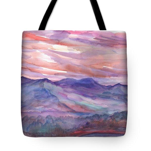 Pink Mountain Landscape Tote Bag