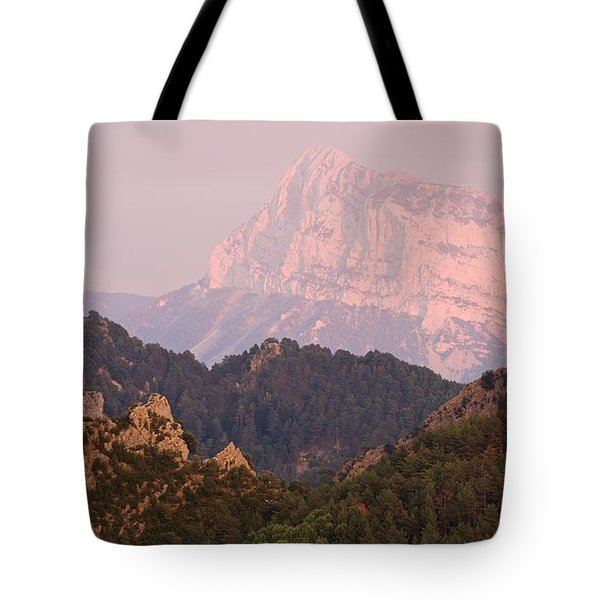 Tote Bag featuring the photograph Pink Pena Montanesa by Stephen Taylor