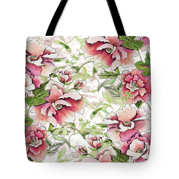 Pink Peony Blossoms Tote Bag