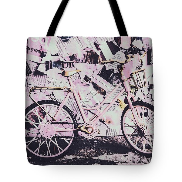Pink Posterized Pushbike Tote Bag