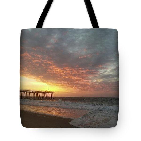 Pink Rippling Clouds At Sunrise Tote Bag