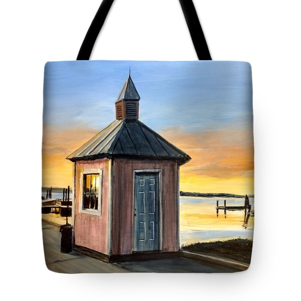 Tote Bag featuring the painting Pink Shed by William Brody
