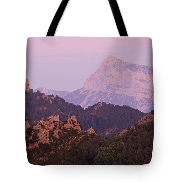 Pink Skies And Alpen Glow In The Anisclo Canyon Tote Bag