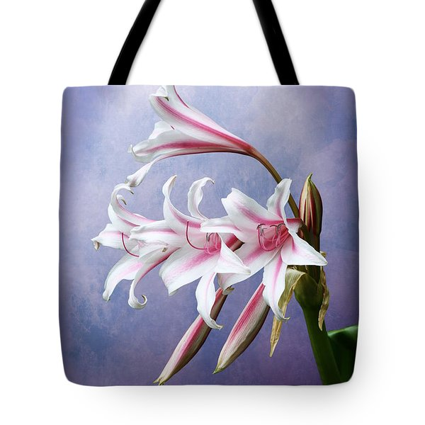 Pink Striped White Lily Flowers Tote Bag