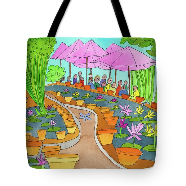 Pink Umbrella And Lilies Tote Bag