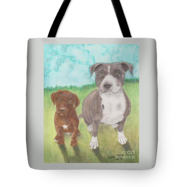 Pitbull Mama And Puppy Dog Cathy Peek Animal Art Tote Bag
