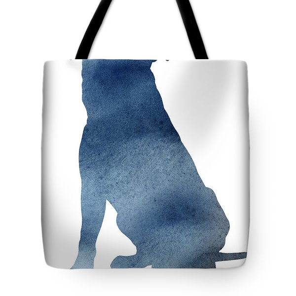 Pitbull Navy Blue Poster Dog Illustration Animal Home Art Tote Bag
