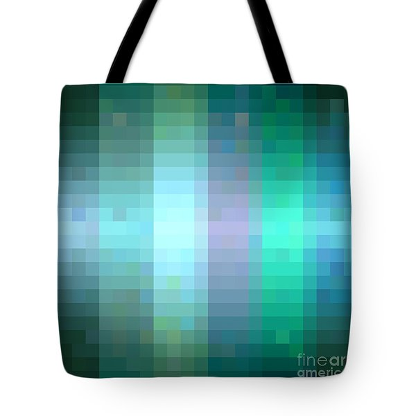 Tote Bag featuring the digital art Pixelated Paradise Fusion by Rachel Hannah