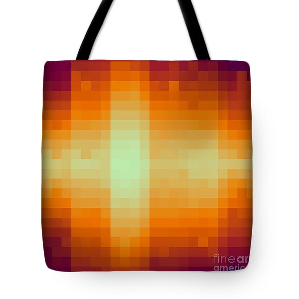 Tote Bag featuring the digital art Pixelated Tropical Sunset by Rachel Hannah