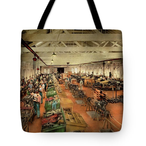 Tote Bag featuring the photograph Plane - Factory - Aircraft Repair 1919 by Mike Savad