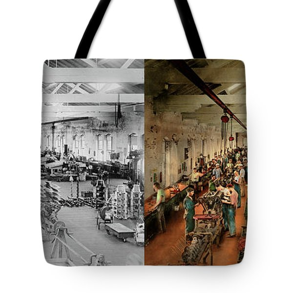 Tote Bag featuring the photograph Plane - Factory - Aircraft Repair 1919 - Side By Side by Mike Savad