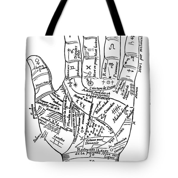 Planetary And Zodiacal Diagram Of The Left Hand, From 'oeuvres Diverses' By Jean Belot, 1649  Tote Bag