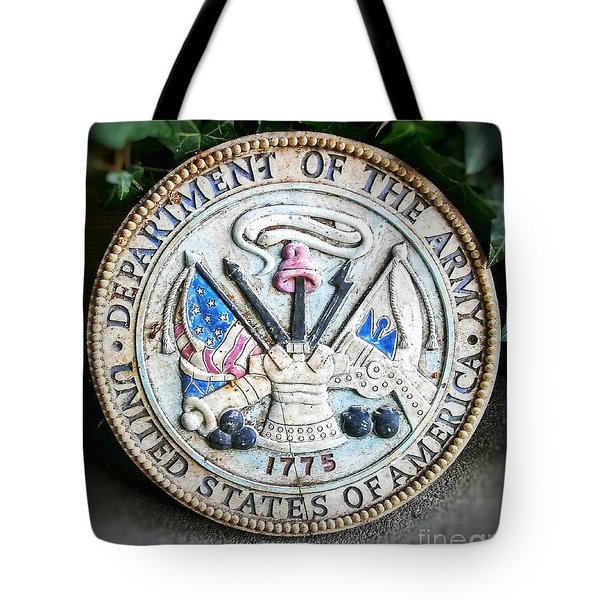 Plaque United States Of America Department Of The Army Tote Bag