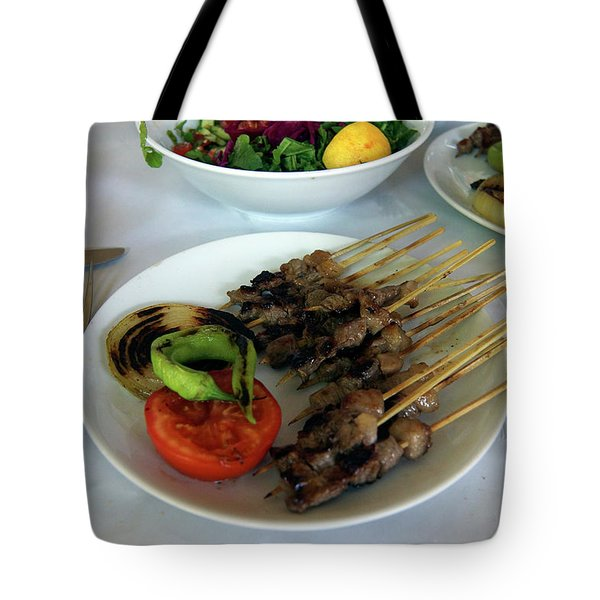 Plate Of Kebabs And Salad For Lunch Tote Bag