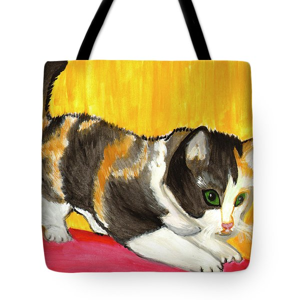 Tote Bag featuring the painting Playful Kitten by Dobrotsvet Art