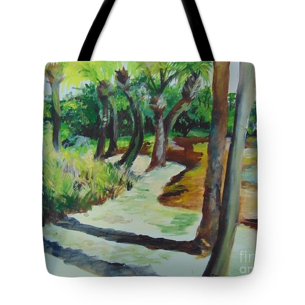 Tote Bag featuring the painting Plen Aire Palms by Saundra Johnson