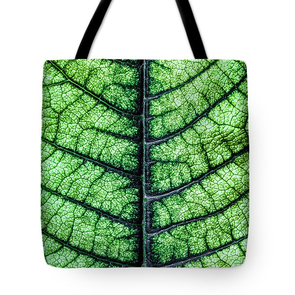 Poinsetta Leaf In Abstract Macro Tote Bag