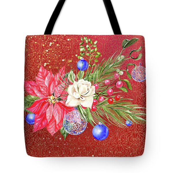 Poinsettia With Blue Ornaments  Tote Bag