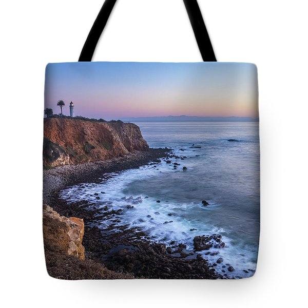 Tote Bag featuring the photograph Point Vicente Lighthouse Long Exposure by Andy Konieczny