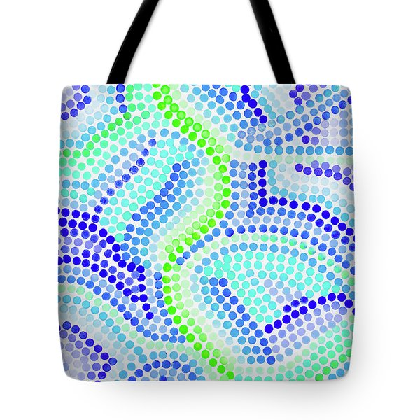 Pointillism On Half A Steroid - Blue And Green Tote Bag